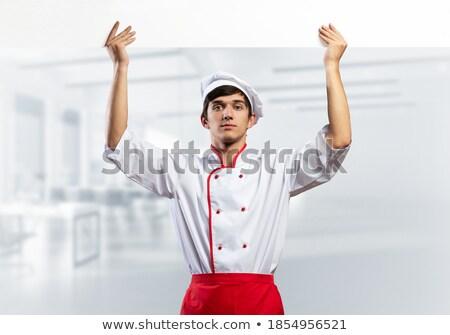 男性 · シェフ · 赤 · ユニフォーム · コピースペース - ストックフォト © stockyimages