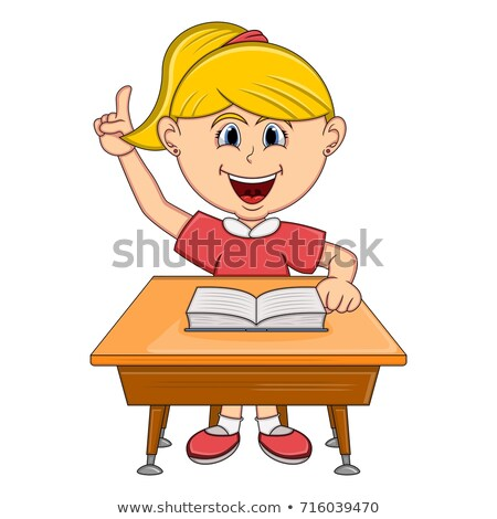 The schoolgirl sits at a school desk. vector  stock photo © carodi
