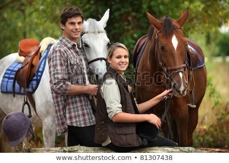 zadel · bereid · paardrijden · jonge · vrouw · vrouw - stockfoto © photography33