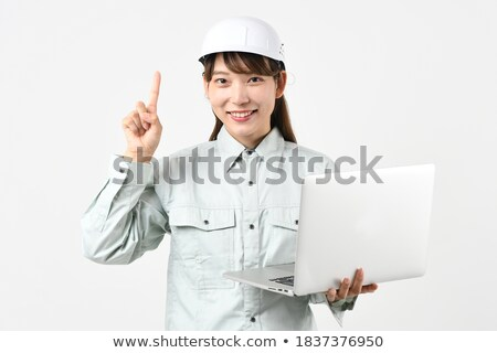 Stockfoto: Vrouwelijke · elektricien · werken · laptop · business · achtergrond