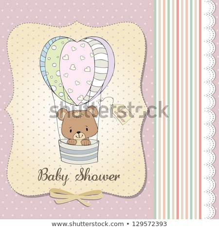 Foto stock: Bebé · ducha · tarjeta · osito · de · peluche · nina · corazón