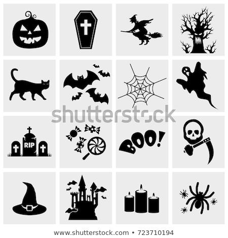 cartoon · halloween · fantôme · citrouille · bat - photo stock © AnnaVolkova