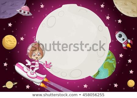 Futuristic children girl and astronaut woman stock photo © lunamarina