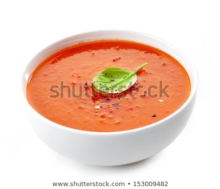 Sopa de tomate isolado branco molho manjericão enfeite Foto stock © leeavison