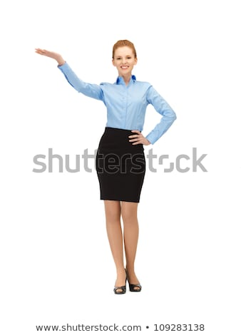 smiling stewardess showing direction  Stock photo © dolgachov