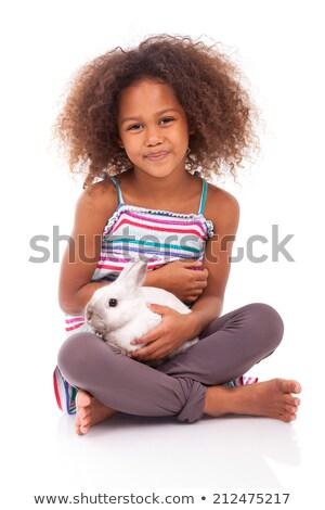 kız · tavşan · genç · kadın · mutlu · tavşan - stok fotoğraf © spectral