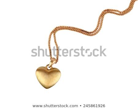 Stok fotoğraf: Altın · kalp · yalıtılmış · beyaz · kadın · güzellik