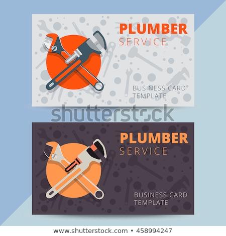 Stock fotó: építőmunkás · névjegy · tart · üzlet · bemutatkozás · férfi