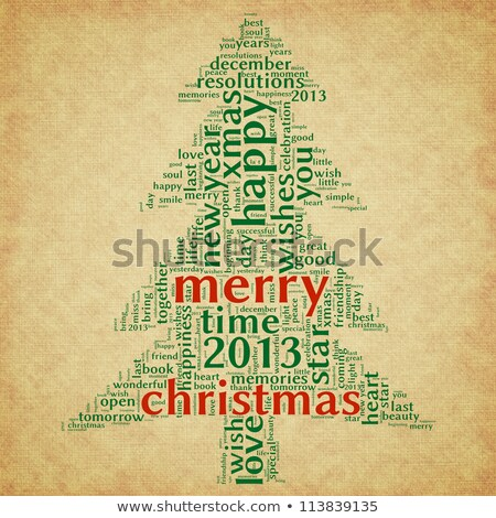 Christmas tree word clouds in brown background stock photo © seiksoon