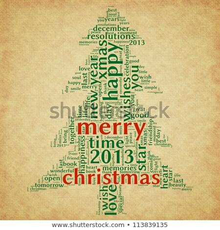 Karácsonyfa szó felhők barna karácsonyi üdvözlet szavak Stock fotó © seiksoon