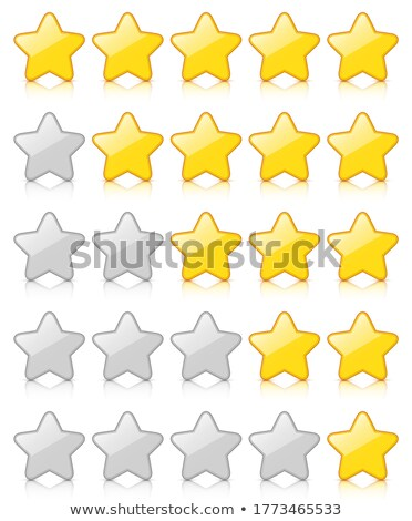 Yellow and white glossy stars icon set for rating and survey stock photo © make