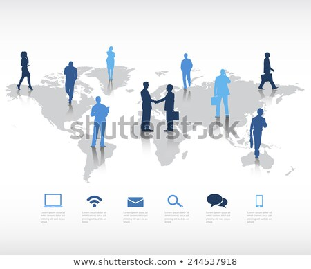 Businessmen and Businesswomen Shaking Hands Around World Stock photo © iqoncept