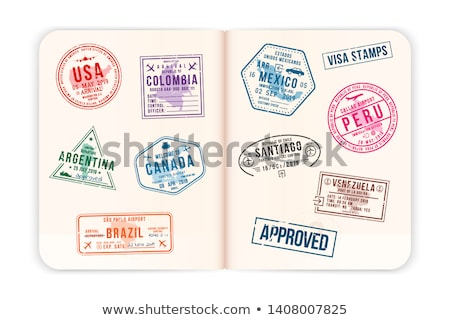 American Passports & Immigration Stamps Background stock photo © eldadcarin