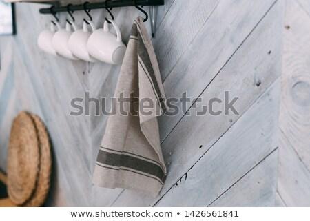 キッチン · タオル · ティーカップ · 孤立した · 白 · テクスチャ - ストックフォト © karandaev