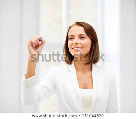 деловая · женщина · Дать · что-то · воздуха · маркер · служба - Сток-фото © dolgachov