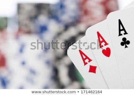 Aces iskambil kartları dört farklı kulüp kırmızı Stok fotoğraf © mannaggia