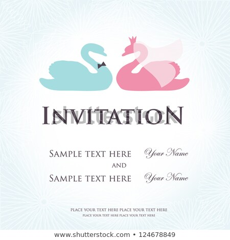 Wedding Invitation With Two Cute Swan Birds In Bride And Groom Costumes Stock fotó © mcherevan