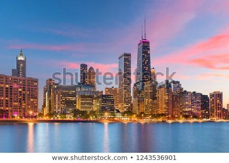 Centre-ville Chicago coucher du soleil 18 centre 2013 Photo stock © AndreyKr