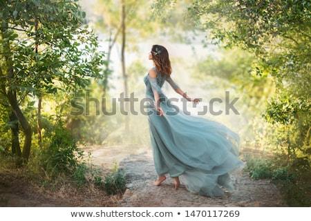 elegáns · lány · kék · ruha · fekete · víz - stock fotó © Glenofobiya