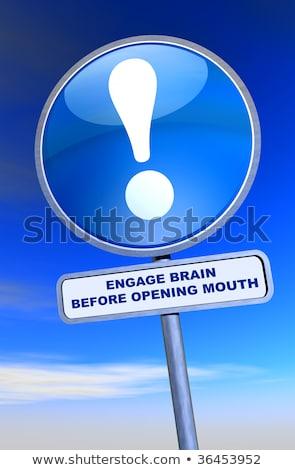 знак мозг открытие рот синий бизнеса Сток-фото © flogel