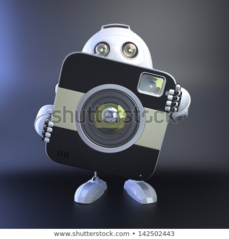 Android robot compact digitale camera 3d illustration man Stockfoto © Kirill_M