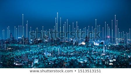 Netwerk Blauw Rood 3d illustration bal keten Stockfoto © make