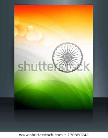 republic day stylish indian flag tricolor wave reflection vector Stock photo © bharat