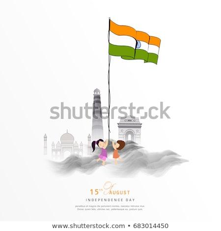 república · dia · elegante · indiano · bandeira · tricolor - foto stock © bharat