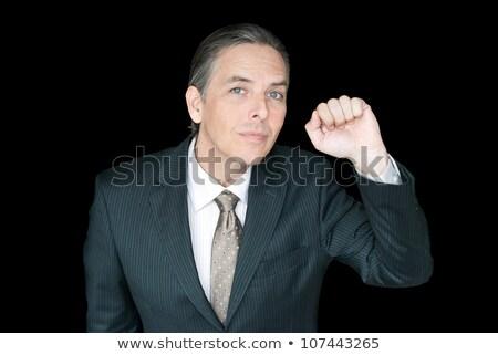 zakenman · taille · omhoog · vierde · muur - stockfoto © jackethead