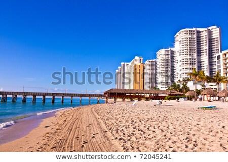 Felhőkarcolók gyönyörű napos szigetek Miami reggel Stock fotó © meinzahn