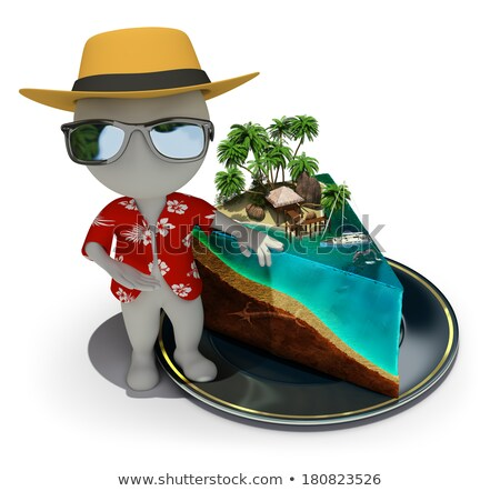 3d small people   piece of paradise stock photo © anatolym