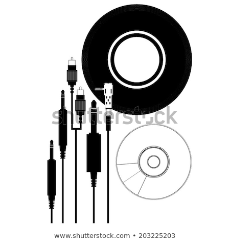 Auriculares vinilo registros retro foto cable Foto stock © Fisher