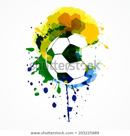 Soccer Beautiful Ball With Brazil Colors Splash Grunge Backgroun Stockfoto © PinnacleAnimates