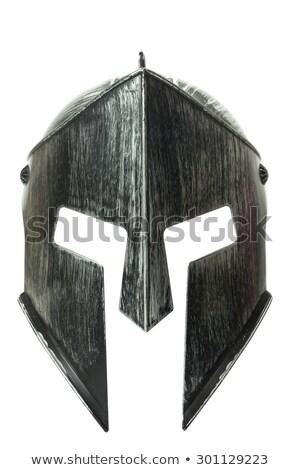 Eski savaşçı kask yalıtılmış beyaz Metal Stok fotoğraf © unweit