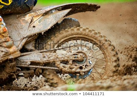 Detail view to the wheel of motocross bike Stock photo © tarczas