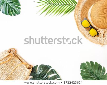 соломенной шляпе сумочка белый женщину пляж Сток-фото © inxti