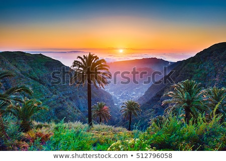 Foto stock: Pôr · do · sol · canárias · natureza · montanha · oceano · vermelho