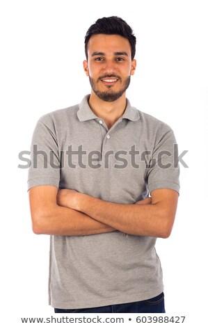 piękna · człowiek · portret · poważny · moda · tle - zdjęcia stock © iko