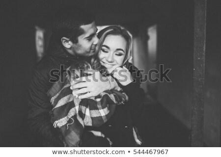 Romantische foto huwelijk paar foto glimlach Stockfoto © konradbak