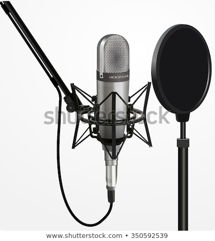 retro metal microphone over white stock photo © blotty