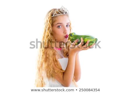 blond princess girl kissing a frog green toad Stock photo © lunamarina