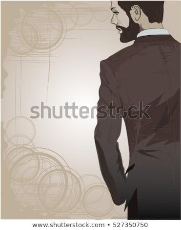 Zakenman poseren achteruit geïsoleerd witte business Stockfoto © hsfelix