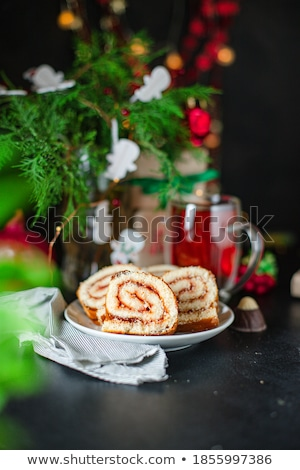 甘い マジパン チョコレート ロール 白 ケーキ ストックフォト © peter_zijlstra