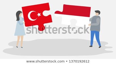 Indonézia Törökország zászlók puzzle izolált fehér Stock fotó © Istanbul2009