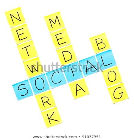 Crowdsourcing kruiswoordraadsel woorden business menigte Stockfoto © mhristov