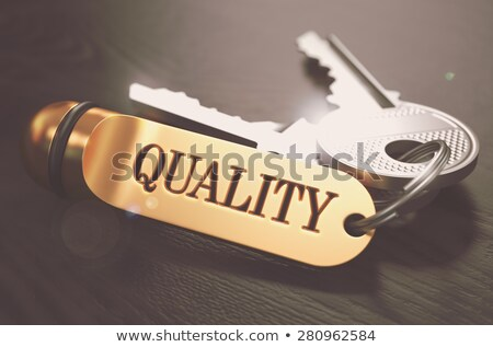 Keys to Quality. Concept on Golden Keychain. Stock photo © tashatuvango