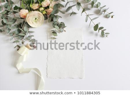 Stock photo Wedding invitation pink roses on satin