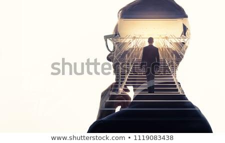 Сток-фото: деловой · человек · риск · шаг · изолированный · человека · костюм