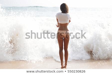 gyönyörű · nő · pamut · alsónemű · megérint · lábak · emberek - stock fotó © dolgachov