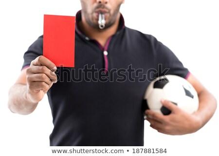 Atraente futebol árbitro assobiar belo Foto stock © Aikon